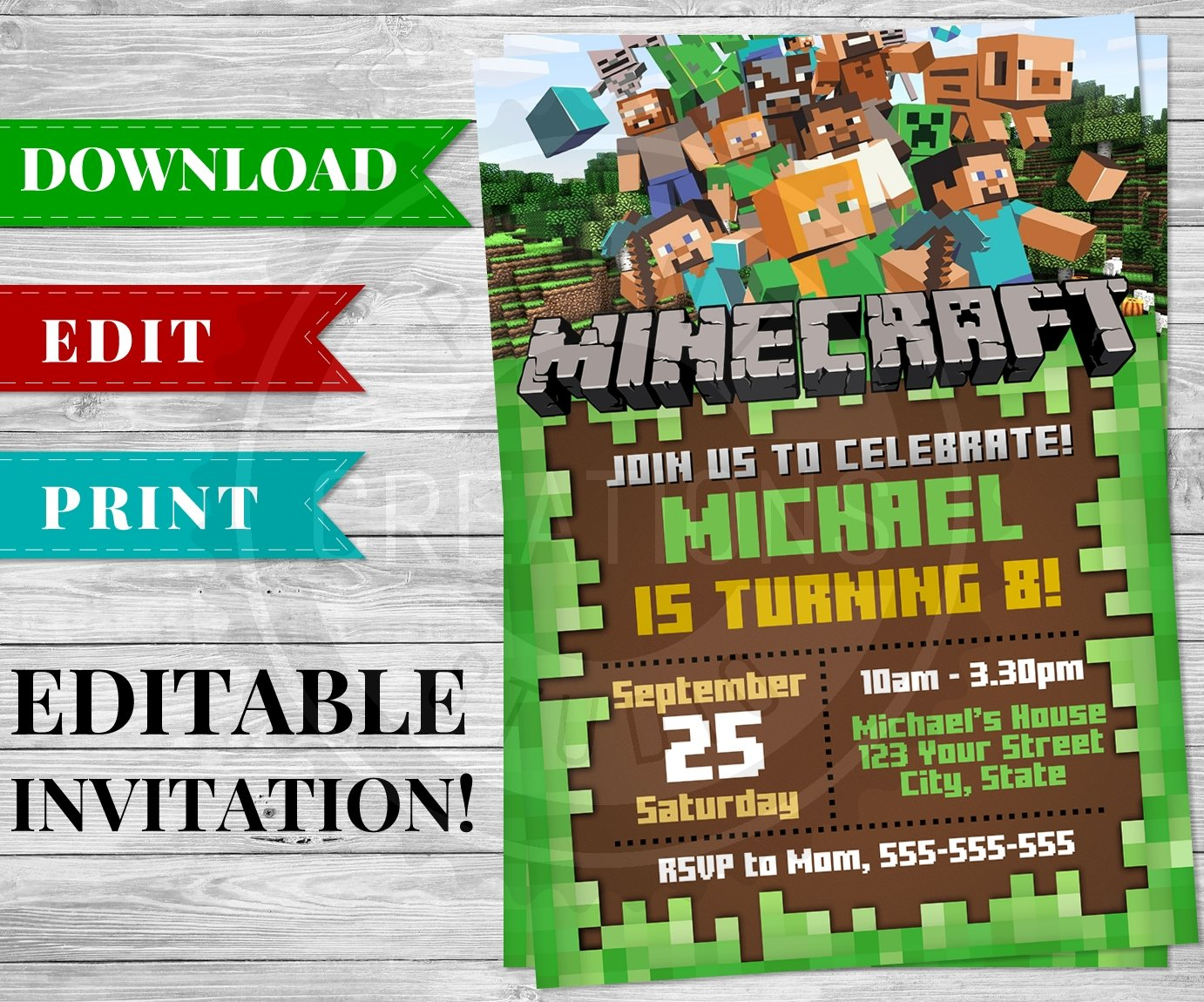 Printable Minecraft Invitation PDF - Minecraft Birthday Party Supplies