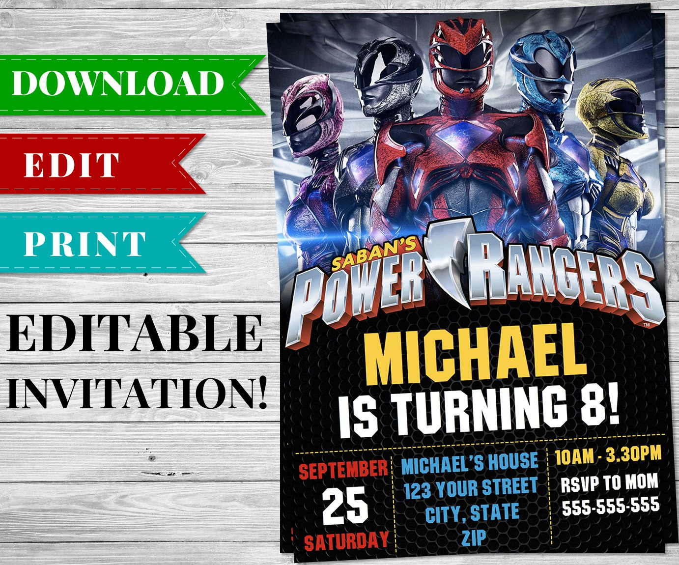 Printable Power Rangers Invitation PDF - Printable Birthday Party Supplies