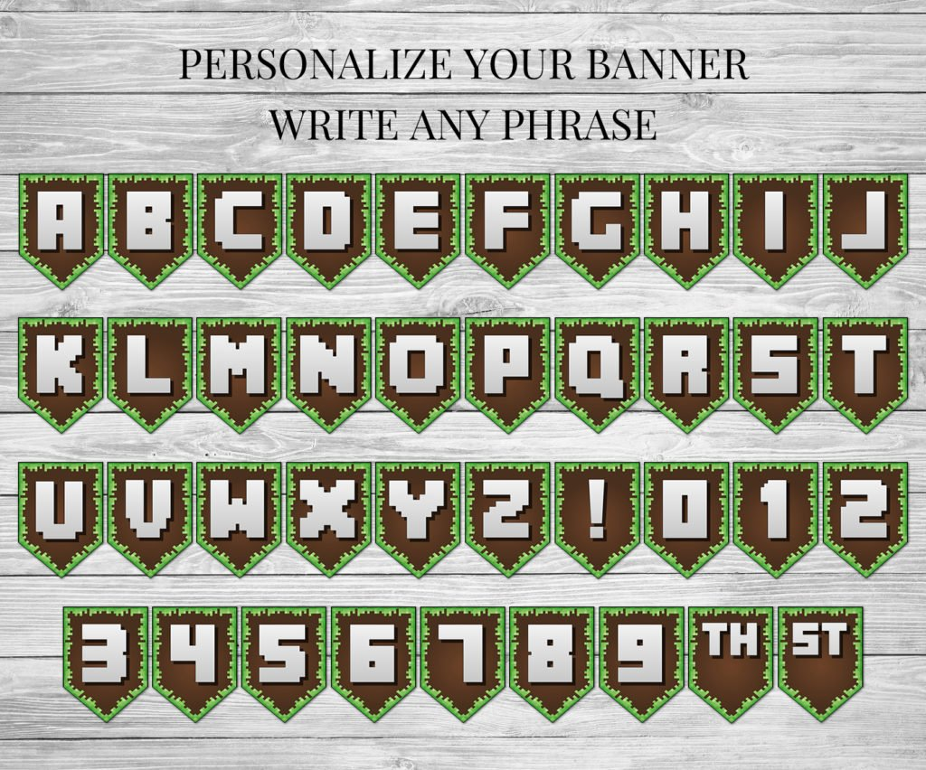 This is a picture of Crazy Minecraft Birthday Banner Free Printable