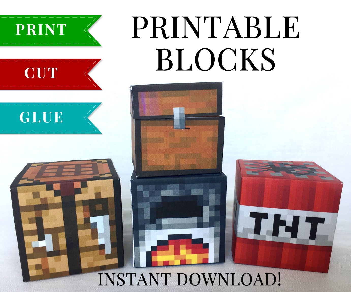 graphic about Minecraft Printable Blocks titled Mounted 2 - Minecraft Printable Papercraft Blocks