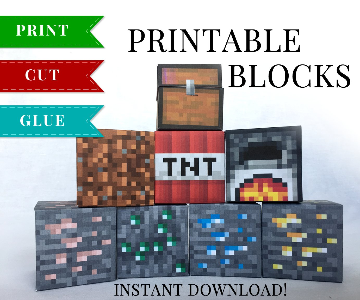 photograph regarding Minecraft Printable Blocks identified as Mounted 4 - Minecraft Printable Papercraft Blocks