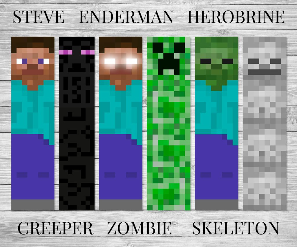 Rare image in minecraft bookmarks printable