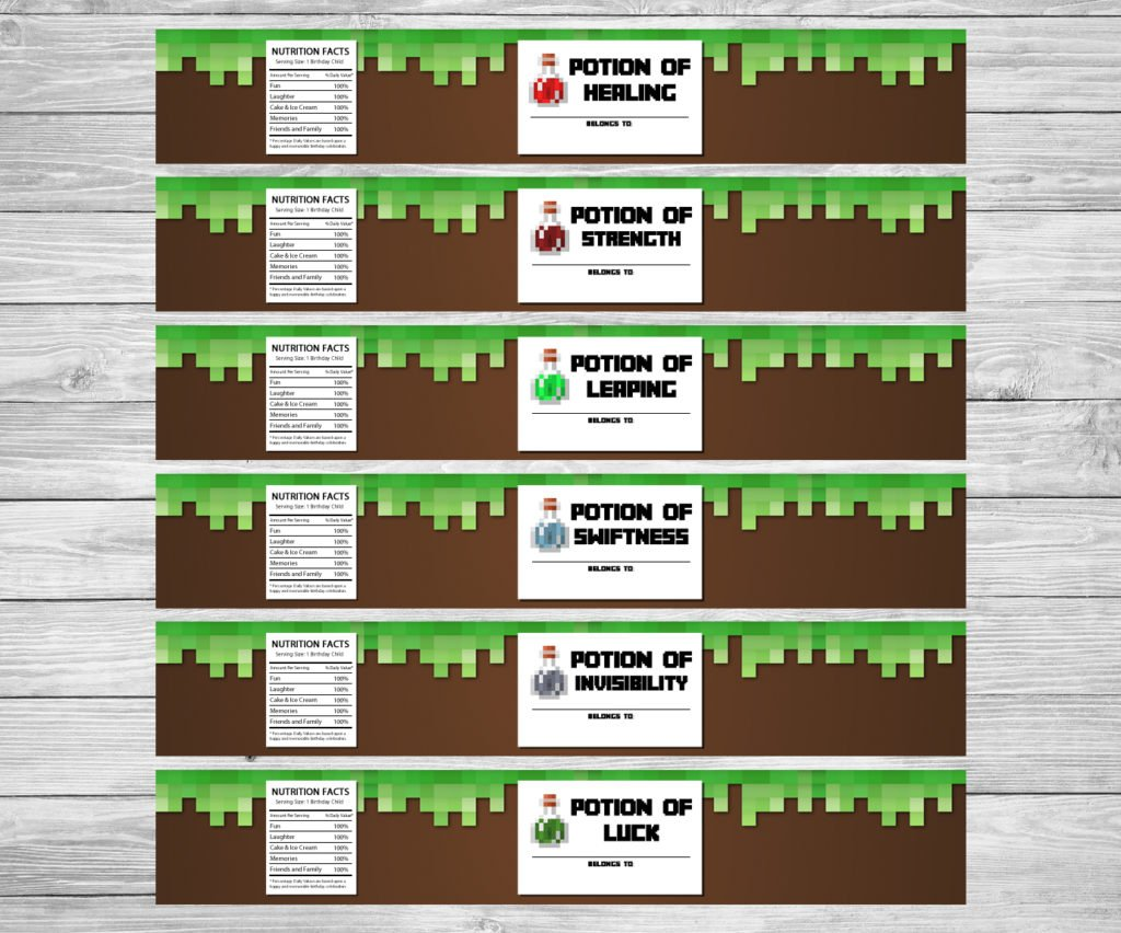 image about Minecraft Labels Printable known as Minecraft Bottle Labels - Printable