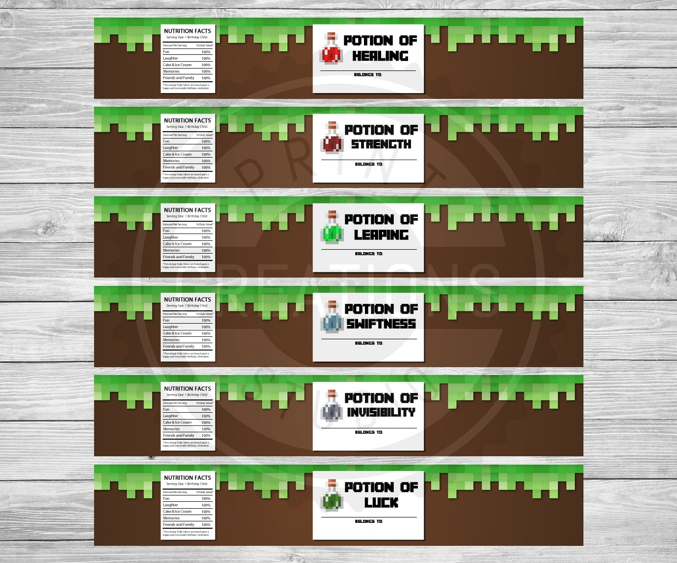This is a photo of Free Printable Minecraft Food Labels regarding woodland themed