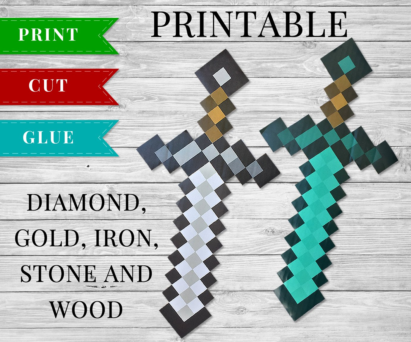 photograph relating to Minecraft Sword Printable named Printable Minecraft Swords - 3D Printable