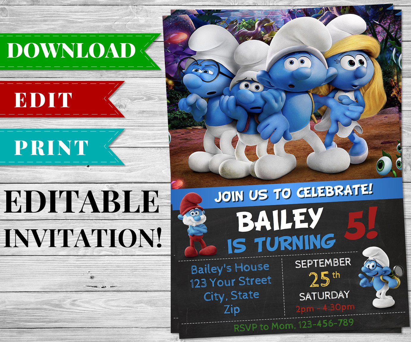 Printable Smurfs Invitation PDF Printable Birthday Party Supplies