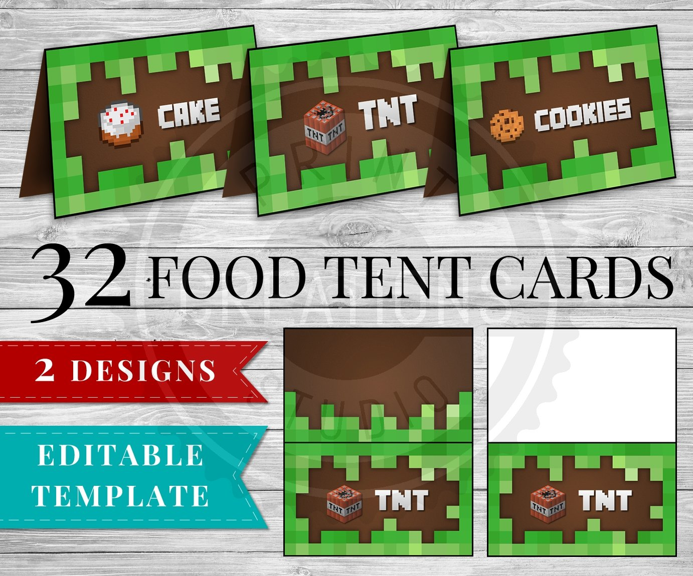 image regarding Free Printable Minecraft Food Tents called Minecraft Foodstuff Tent Playing cards - Printable Editable