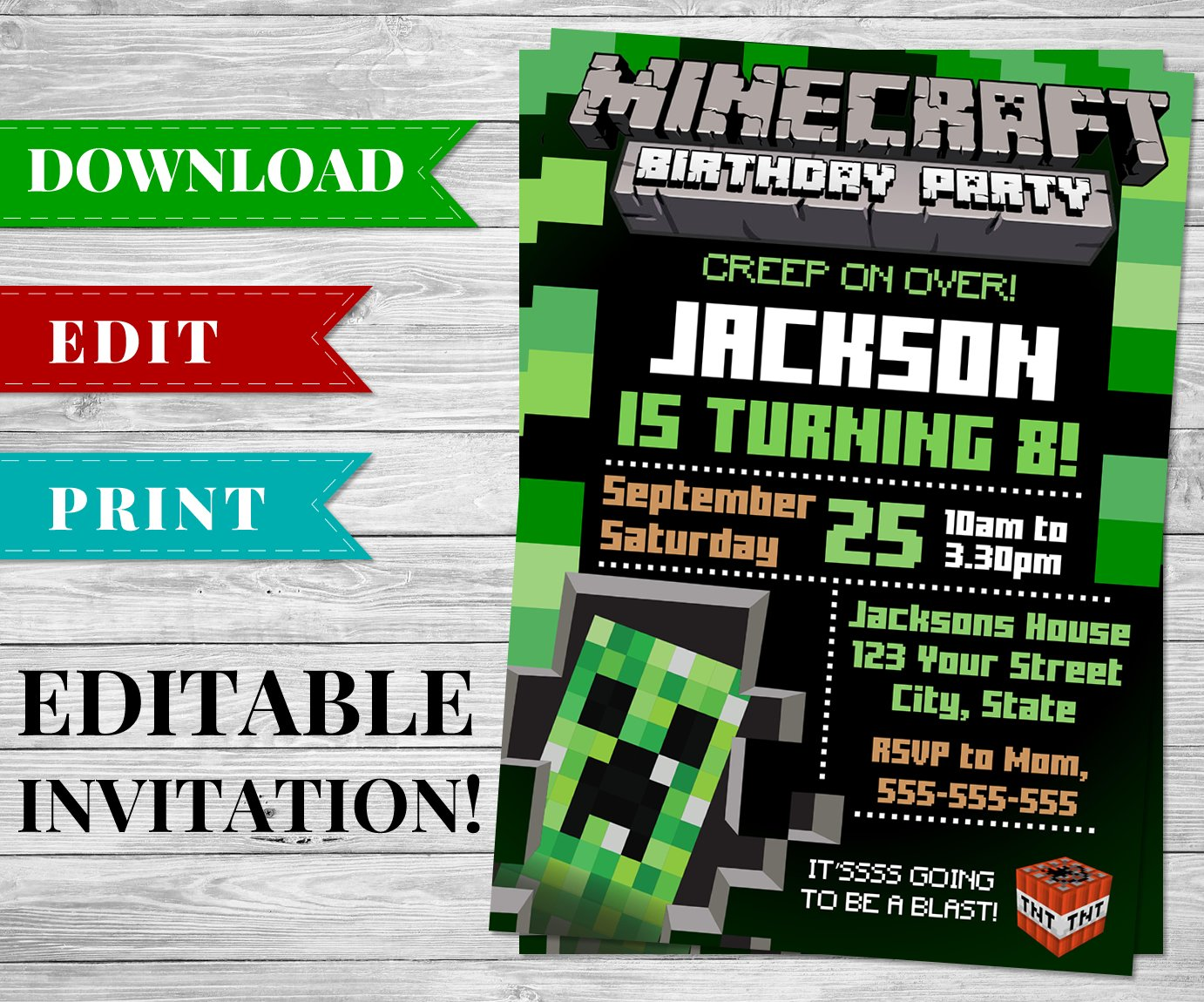 photo regarding Minecraft Birthday Invitations Printable known as Minecraft Creeper Invitation Editable and Printable
